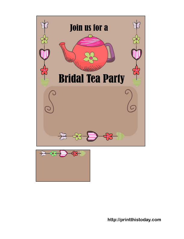 Free Printable Bridal Shower Tea Party Invitations