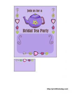 free printable bridal shower tea party invitation in lilac color