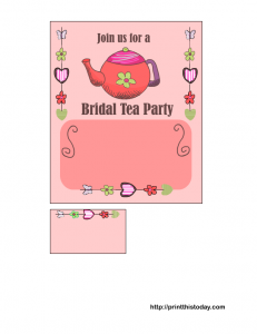 free printable bridal shower tea party invitation in pink color