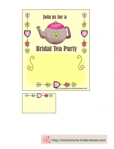 free printable bridal shower tea party invitation in yellow color