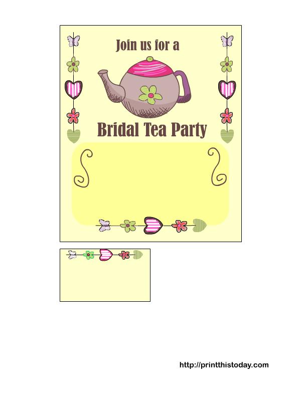 tea party invitation templates printable