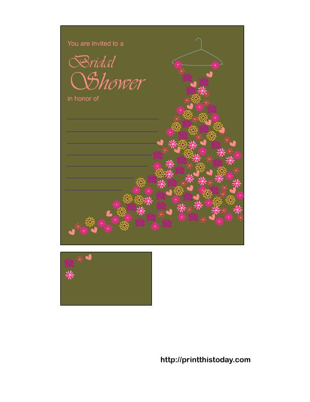 free printable bridal shower invitation in olive color