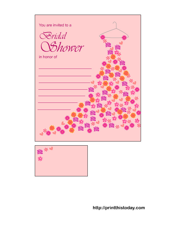 Free Printable Bridal Shower Invitation In Pink Color