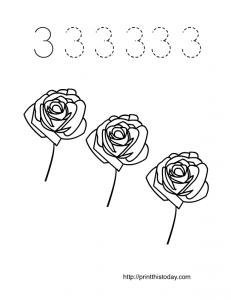 valentine themed number 3 math worksheet