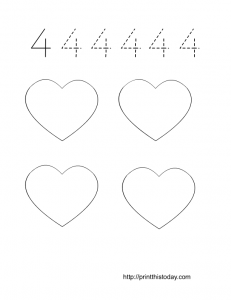 free printable number 4 math worksheet