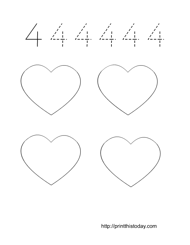 Free Printable Valentine themed Math Worksheets 1-10