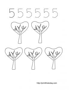 free printable number 5 math worksheet