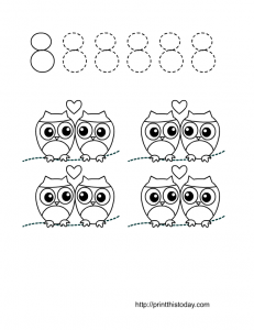 number eight worksheet for preschool and kindergarten