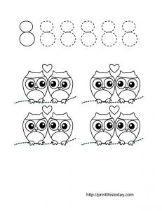 number eight worksheet for preschool and kindergarten