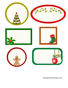 christmas labels in 6 different shapes