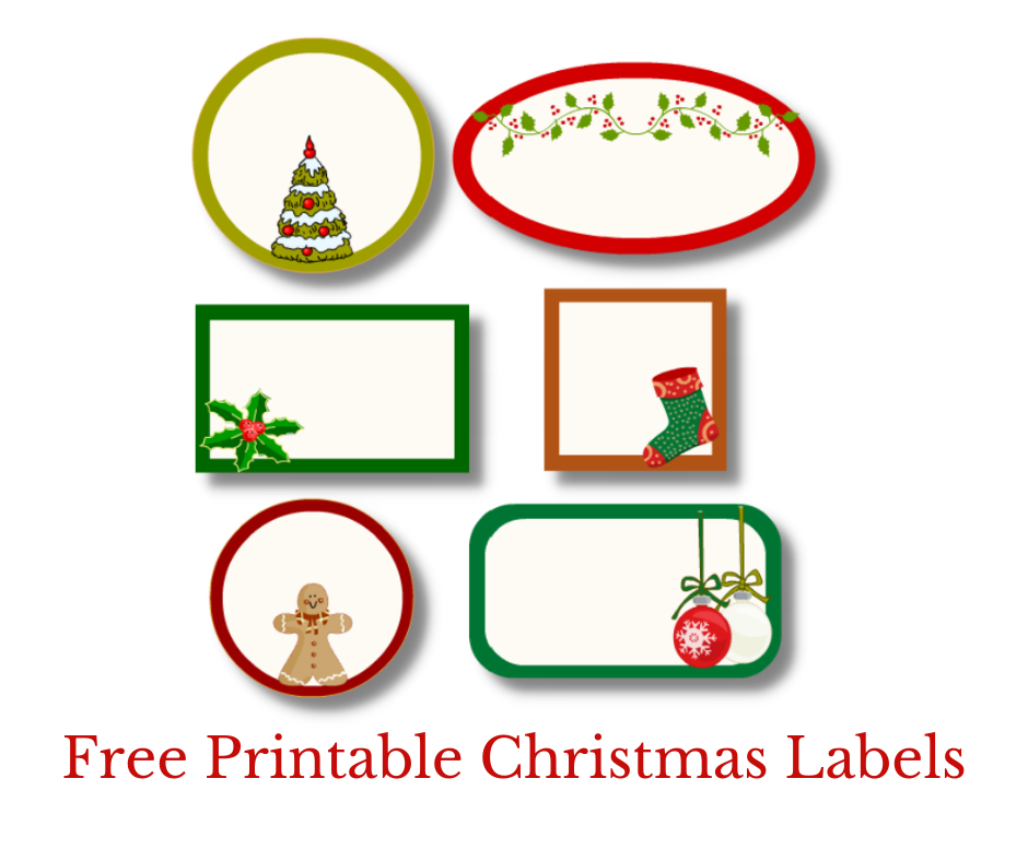 Editable Christmas Labels in 6 different shapes {free printable}