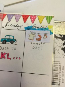 fall themed laundry stickers in planner
