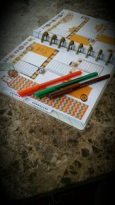 happy planner decorated with free printable fall themed washi