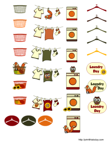 free prinatble fall themed laundry day stickers for planner