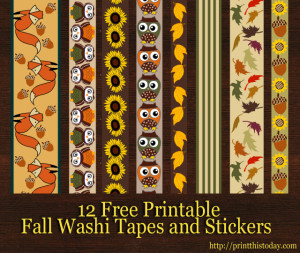 free printable fall washi tapes and stickers