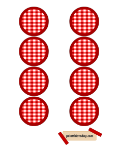 Red and White Jar Lid Labels