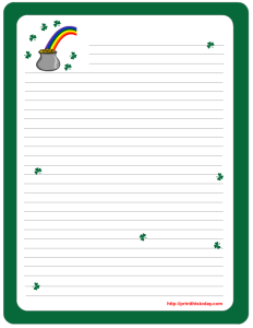 Saint Patrick's Day Writing Paper featuring Gold Pot and RainBow