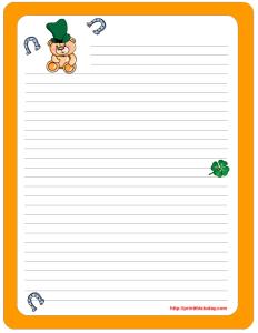 Saint Paddy Day Writing Paper