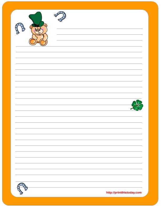 saint patrick u0026 39 s day writing paper  free printable