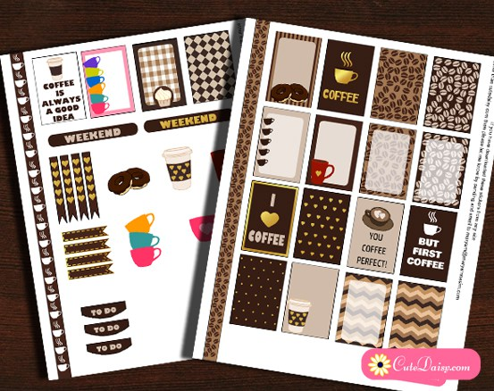 5 free printable Coffee themed planner stickers sets