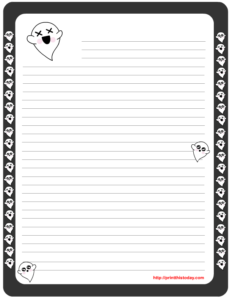 Free Printable Halloween Writing Paper featuring cute Ghosts