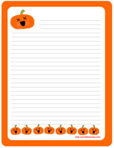 Halloween Writing Paper featuring cute Pumpkins