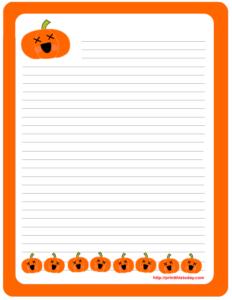 Halloween Writing Paper featuring cute Pumpkins
