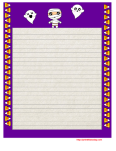 Free Printable Halloween Writing Paper with Purple Border