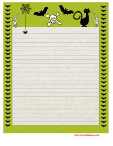Halloween Writing Paper with Green Border