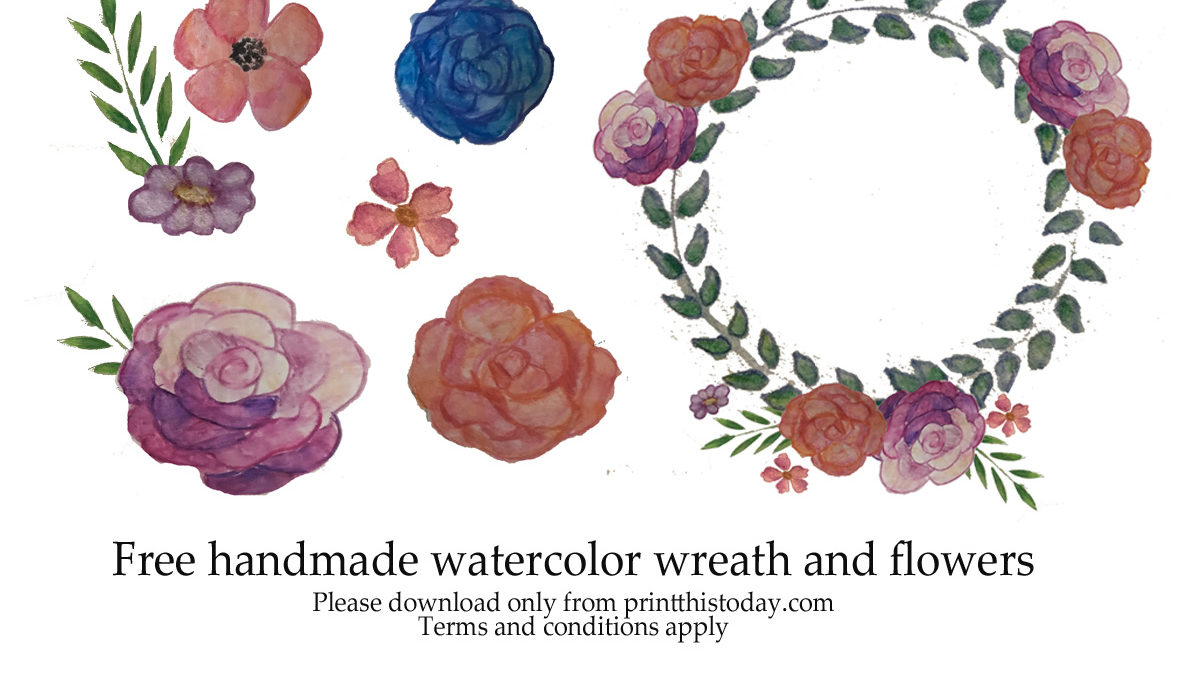 Free handmade watercolor wreath and flowers for blogs and printables
