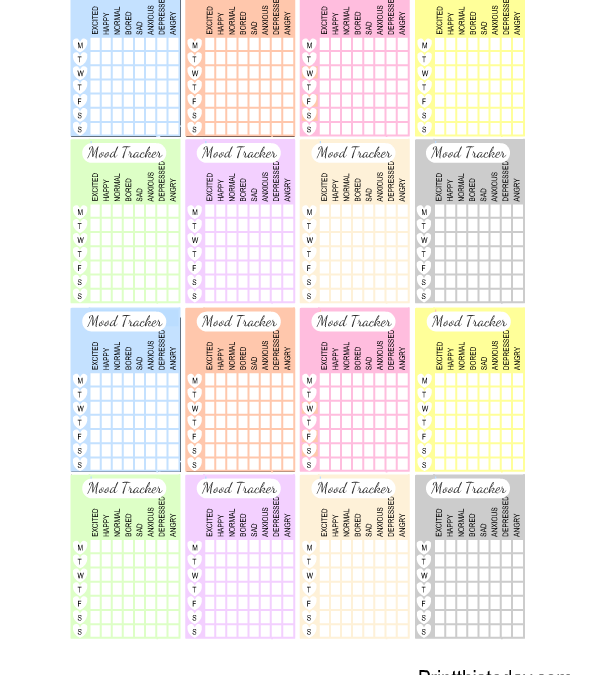 Free Printable Weekly Mood Tracker Stickers