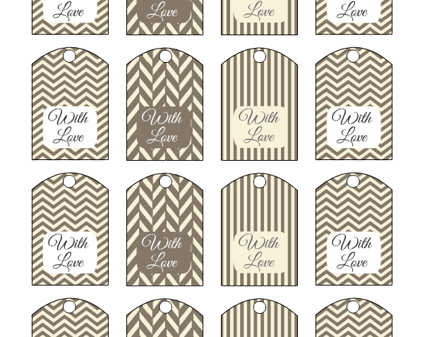 Cute Wedding Favor Tags Printable in Cream and Taupe Colors