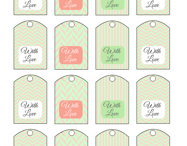 Free Printable Wedding Favor Tags in Mint and Blush Colors