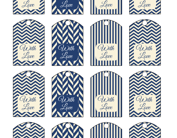 Wedding Favor Tags Printable in Cream and Navy Colors