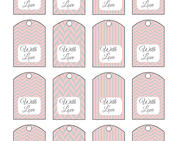 Free Printable Wedding Favor Tags in Pink and Grey