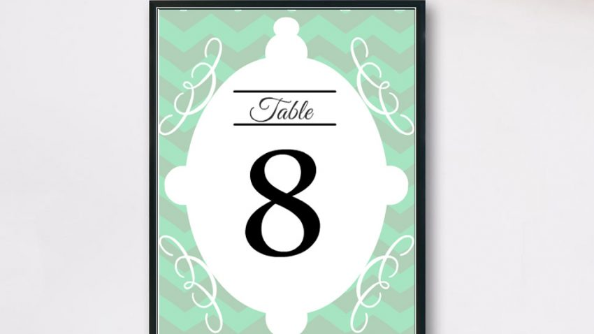 Free Printable Wedding Table Numbers { Mint Chevron}