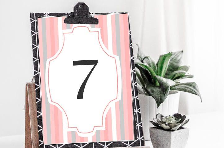 Free Printable Wedding Table Numbers in Pink