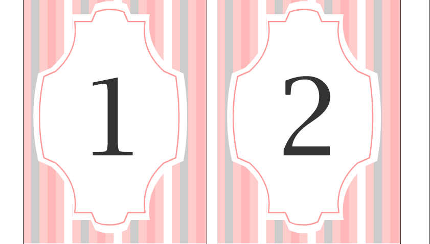 Free Printable Wedding Table Numbers 1 and 2