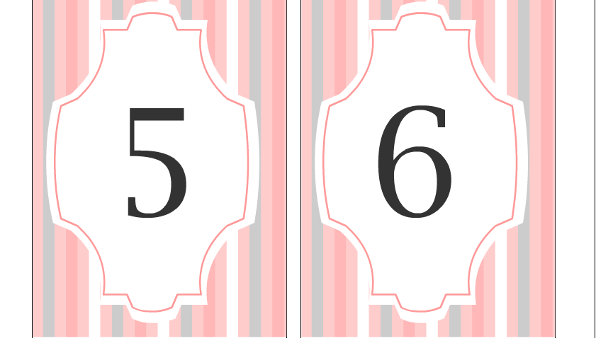 Wedding Table Numbers 5 and 6 in Pink Color