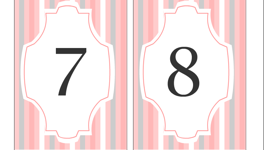 Wedding Table Numbers 7 and 8 Free Printable