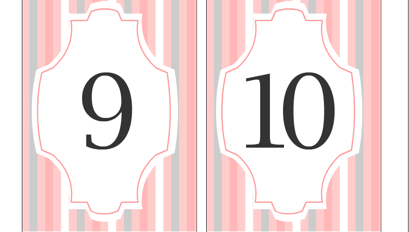 Free Printable Table Numbers 9 and 10