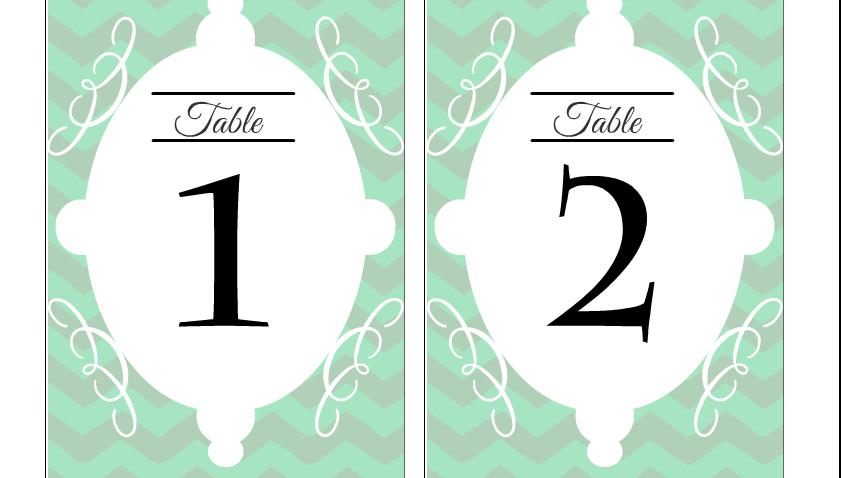 Free Printable Wedding Table Numbers 1,2