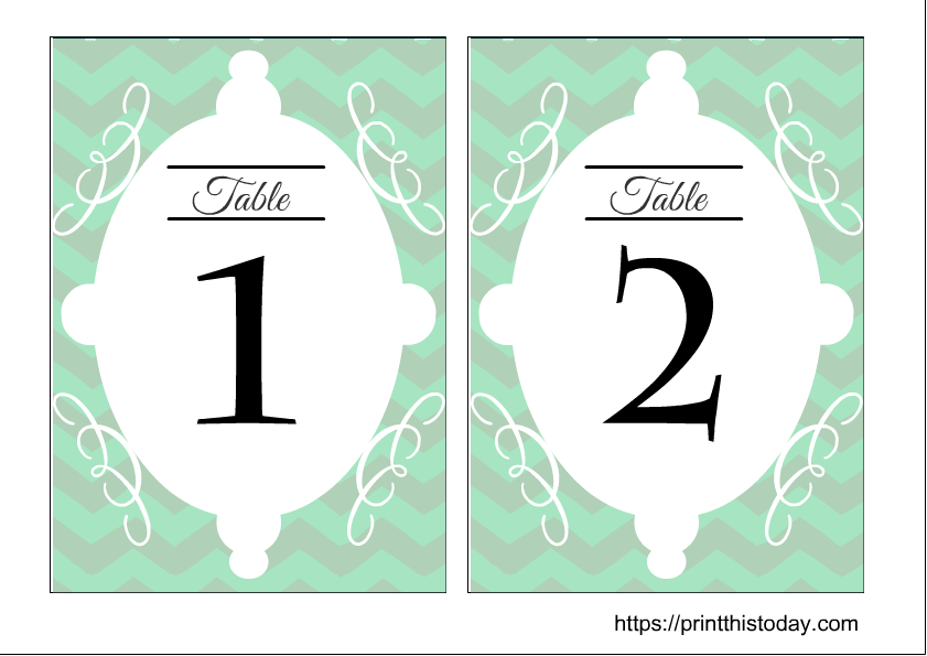 Free Printable Wedding Table Numbers 1,2