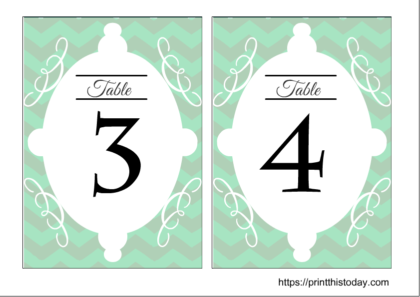 Free printable wedding table numbers 3 and 4