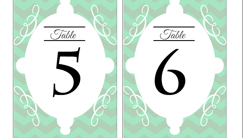 Free printable wedding table numbers 5 and 6
