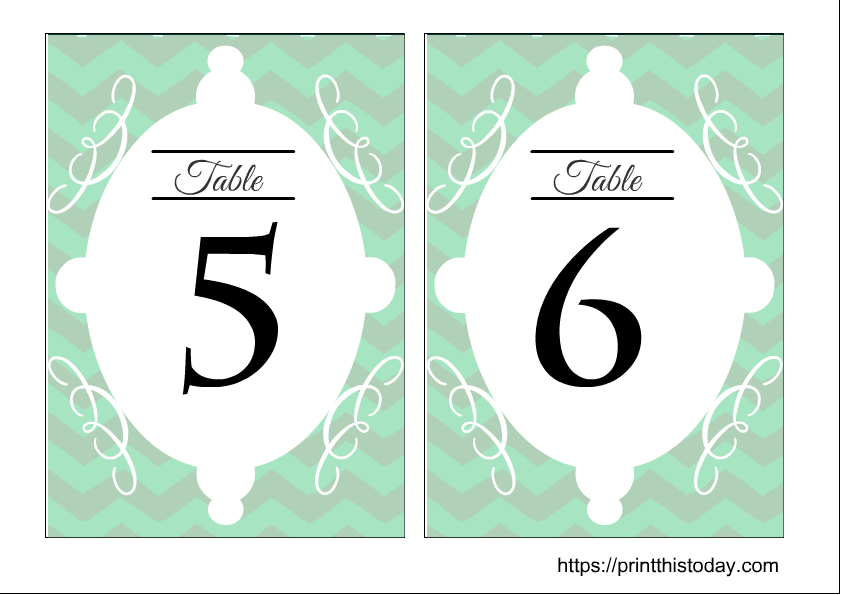 Free printable wedding table numbers 5 and 6