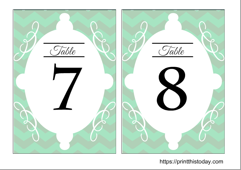 Wedding table number 7 and 8 free printable