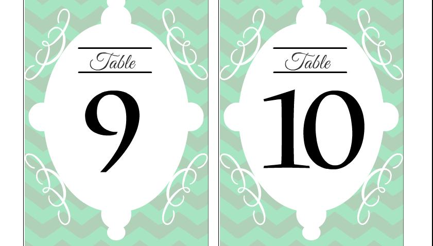 Wedding table numbers 9 and 10 printable free