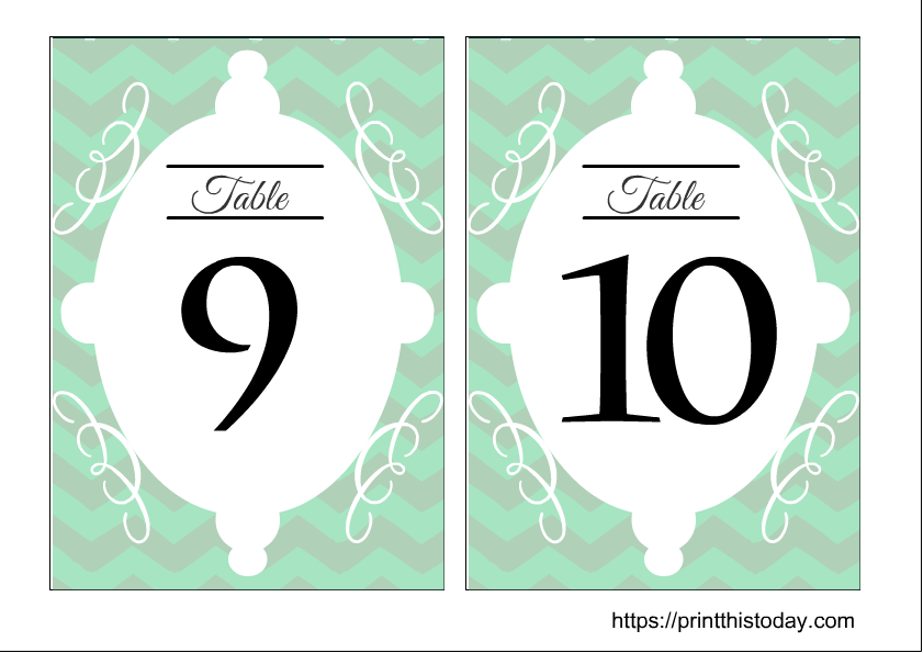 Wedding table numbers 9 and 10 printable free