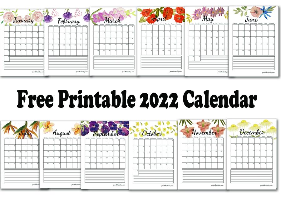 Free Printable 2022 Floral Calendar